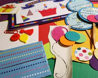 Happy Birthday Inspiration Kit (Collage/Crafting Pack/Paper Ephemera/Junk Journal/Embellishments/Pocket Letter/Pen Pal/Scrapbooking)