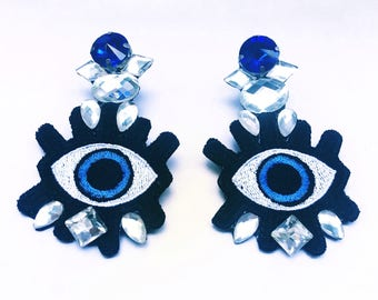 Patch earrings, lucky eye earrings, blue and black earrings, patches jewelry, patch jewelry, dangle earrings, lucky jewelry, big earrings