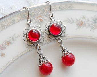 75% Off Clearance Sale, Ruby Red , Vintage Glass Cameo, Antique Silver Ox Finish, Stainless Steel Earwires