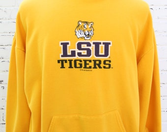 90's Vintage LSU Tigers Purple and Gold Hoodie Baton Rouge Louisiana SEC Conference Size X-Large