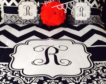 Custom Design and Personalized Chevron and Damask Bedding - Monogrammed Or Personalized - Black and White Chevron - ANY colors are available