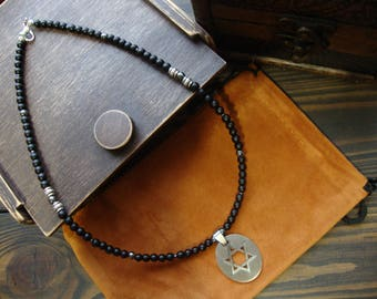 Star of David necklace pendant star Black matte onyx jewelry for man Hematite necklace Jewish necklace judaica jewelry charm Gift for man