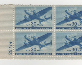 30 cent 1941-44 Twin-Motored Transport Airmail (Scott's C 30) Plate Block of 4  Postage Stamps, Mint-NH