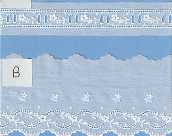 White Swiss Batiste Embroidery Beading and Edging - Swiss Beading with Entredeux - Heirloom Sewing Supplies - Doll Dress Supplies