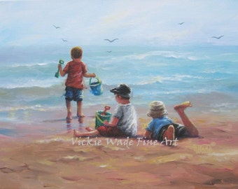 Three Beach Boys Art Print, beach paintings, boys, beach, three brothers, three boys, my three sons, beach children, sea, Vickie Wade art
