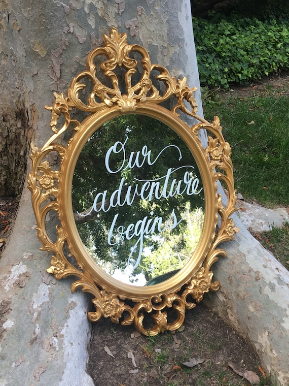 Custom hand lettered decorative gold mirror