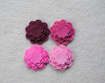 48 Piece Die Cut Tiny WOOL BLEND Felt Flower Set, Pinks