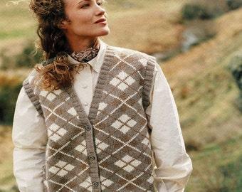 Ladies Traditional Argyle V-Neck Waistcoat, Vest, Vintage Knitting Pattern, PDF, Digital download