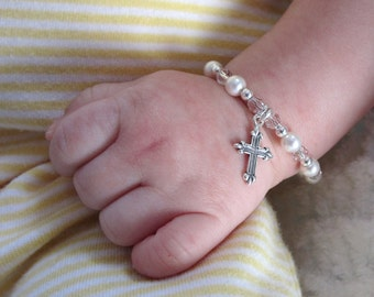 Baby Bracelet MAGAZINE FEATURED Baptism bracelet sterling silver Cross swarovski crystal pearl CUSTOM Keepsake new baby shower Christening