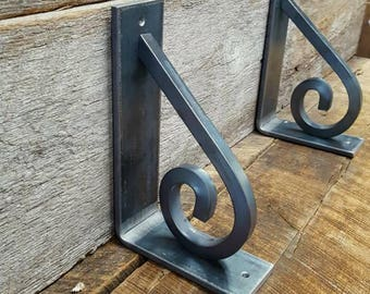 Shelf brackets, *set of 2* hangers, shelving, decor, home, country, barn, rustic, forged, scroll, blacksmith