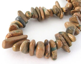 "Picture Jasper - Natural Jasper Nugget Gemstone - Brown Chunky Nugget Beads - Smooth Freeform Stick Beads - 8"" Strand - DIY Jewelry Making"