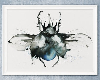 Rhinoceros Beetle painting Wall Art insect watercolour illustration inky Bug steam punk hipster goth A4 A3 A2 A1 ANY SIZE Pefect Gift
