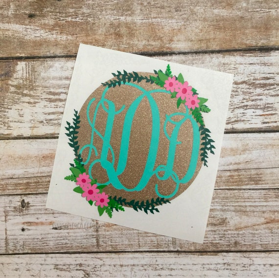 Shop Floral Monograms At Littlebrownnest Etsy Com: Monogram Decal Floral Monogram Floral Monogram Decal Car