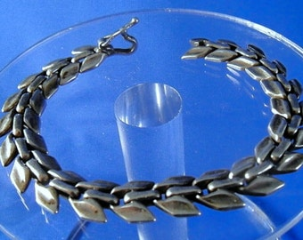 "Vintage Taxco Mexico Sterling 925 Silver 7"" Bracelet with Unique Links ~~ Designer Signed TC-168"