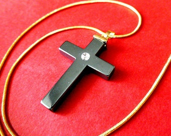 HEMATITE & RHINESTONE Cross Pendant, Black Cross with Goldtone Accents, Vintage Cross with Neck Chain, Cross Necklace, Black Stone Cross