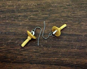 set of two armillaria mellea honey mushroom earrings