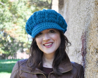 Woman's Crochet Hat - Sapphire Blue - Crocheted Newsboy Hat for Adult - Blue Hat with Brim for Women
