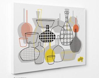 Bottles & Vases   Wall Art Canvas Print - Yellow-Orange