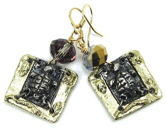 Gold Crystal Turtle Art Metal Earrings, Free US Shipping