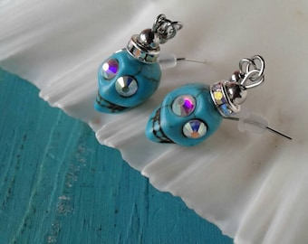 Rhinestone Turquoise Skull Earrings