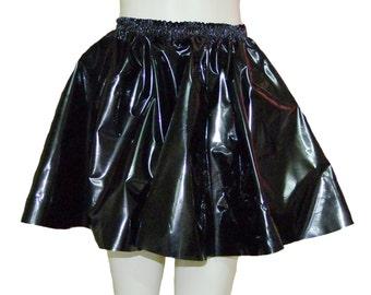 "Shiny pvc (black/hot pink/pearly clear) Skating Skirt Circular Mini, Size XL/XXL (30-46"" / 76 to 117cm Waist)  (Heavy pvc / Vinyl / Plastic)"