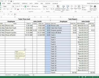 Tasks TimeCard with Reports