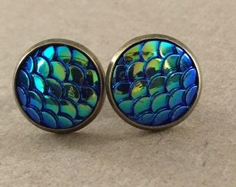 Purple, Blue, Green Mermaid Scale Earrings, Dragon Scale Stud Earrings, Mermaid Earrings