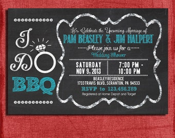 "Printable ""I Do"" BBQ Barbecue Couples/Coed Wedding Shower Invitation-Choose your colors-DIY"
