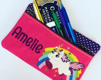 Pencil case, Pencilcase, Unicorn pencilcase, unicorn gift, personalised pencil case, personalized customised unicorn gift, pouch, purse
