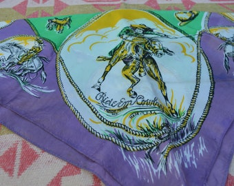 "Vintage 1940's ""Ride em' Cowboy"" Western Scarf Made in USA"