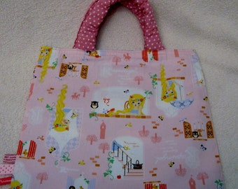 Cute bag for library or Tote Bag with Rapunzel fabric