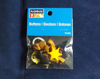 9PC Western Sheriff Buttons and Embellishments - Art Minds