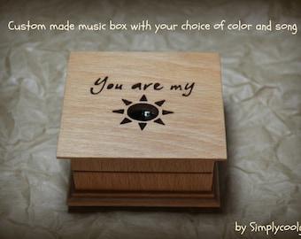 music box, wooden music box, custom made music box, you are my sunshine, personalized music box, music box shop, valentine's day gift