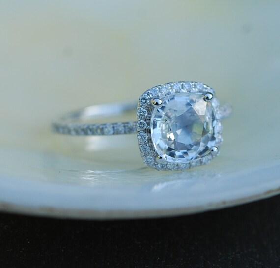 White Sapphire Engagement Ring. Cushion cut sapphire ring. Square cushion 14k white gold diamond ring 1.45ct sapphire ring by Eidelprecious.