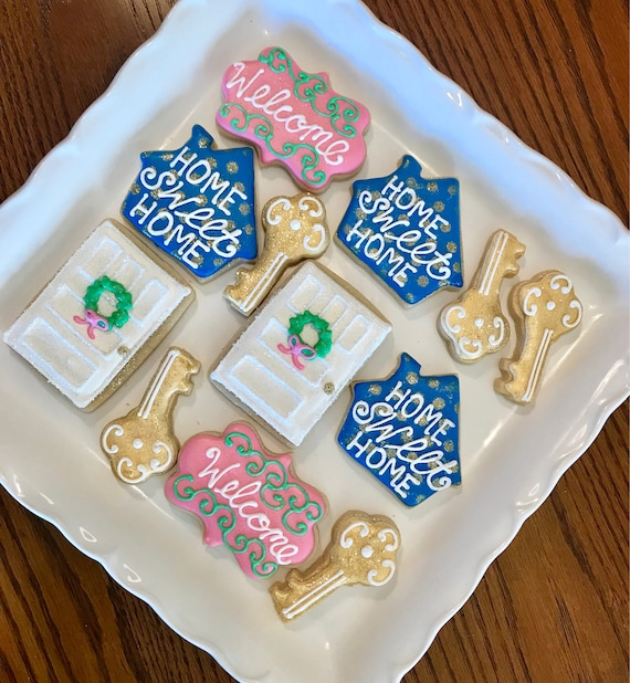 House Warming Gift New Home Key And Home Design Sugar Cookies