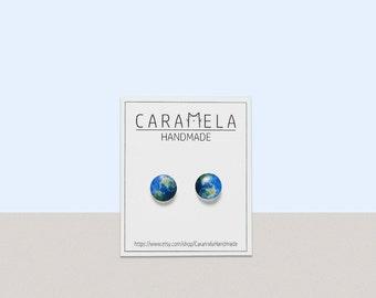Planet Earth Stud Earrings Planet Earth Earrings Small Stud Earrings Post Eco Space Galaxy Earrings Earth Jewelry Gift Idea