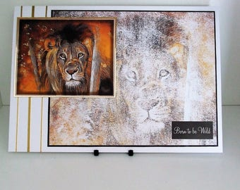 Handmade Large Blank Card, Lion, Born to be Wild, Suitable For Many Occasions (332)