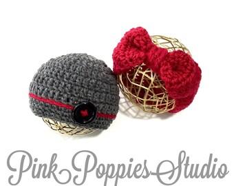 Crochet baby beanie and headband set, newborn prop, twins prop, baby prop, up to 12 months