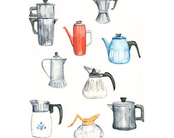 coffee pot watercolor giclee print - 8x10 // kitchen art // wall decor