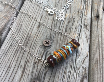 """OOAK Necklace, Pendant or Bracelet with Focal Lampwork Glass Bead and Sterling Silver adjustable size chain 20"""" long"""