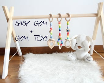 Rainbow baby gym toys and wooden baby gym / Perfect gift for newborn / Baby activity center
