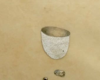 One Cup, Two Tiny Stones / Mixed Media Drawing in Beeswax / Black and White / Vessel /Diary Drawing