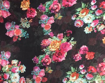 Floral Polyester Chiffon - Black