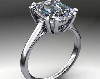 ciara ring – 3.5 carat emerald cut NEO moissanite engagement ring, cathedral ring