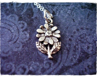 Tiny Daisy Necklace - Sterling Silver Daisy Charm on a Delicate Sterling Silver Cable Chain or Charm Only