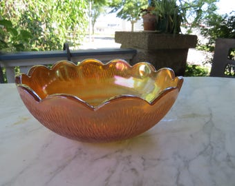 NEW PRICE--Vintage Iridescent Carnival Glass Bowl in Marigold