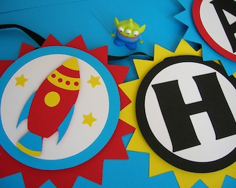 Rocket Ship Space Theme Birthday Banner