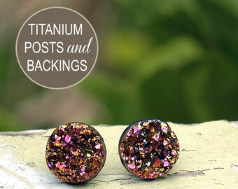 Glitter Stud Earrings with Titanium Posts, Magenta and Gold Faux Druzy Studs, 12mm Durzy Post Earrings
