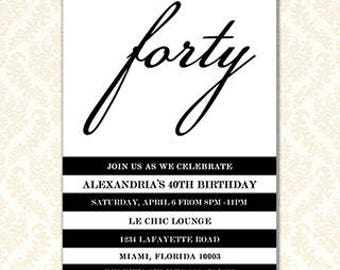Black and White Birthday Invitation, Printable Party Invites, Adult Birthday Invite Cards, Teen Party Invitations, Any Event or Age, Digital
