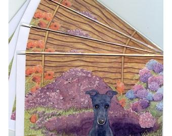 4 x Greyhound whippet lurcher dog greeting cards - gardener